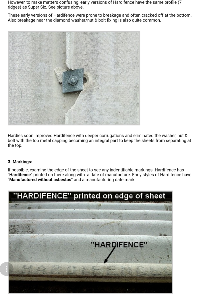 How to tell difference between asbestos fence and non asbestos